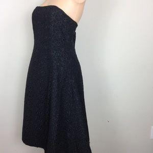 Shoshanna Black Strapless Eyelet Dress Sz 10